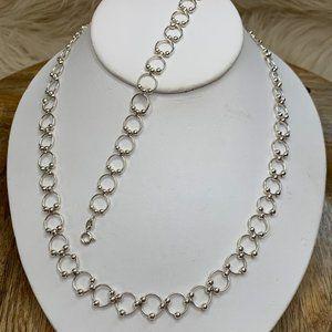 Sterling 925 Necklace & Bracelet Floating Circles